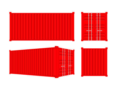 Red Shipping Cargo Container Twenty and Forty feet. for Logistics and Transportation. Vector stock Illustration Banque d'images - 132880145