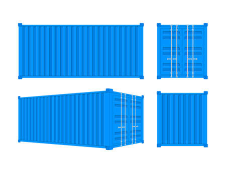 Blue Shipping Cargo Container Twenty and Forty feet. for Logistics and Transportation. Vector stock Illustration Banque d'images - 132898050