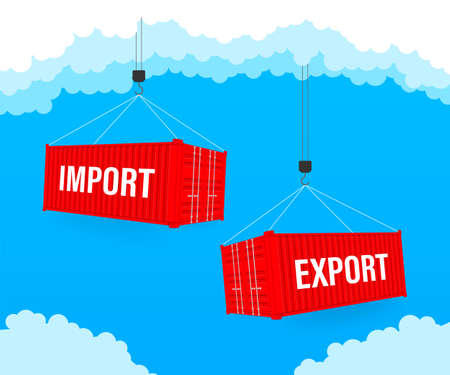 Port crane lift two red cargo containers with import and export words. Vector stock illustration Banque d'images - 132898051