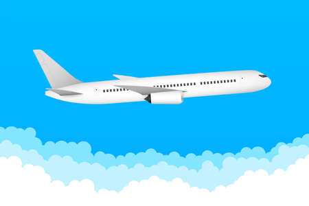 Flat airplane illustration, view of a flying aircraft. Vector stock illustration