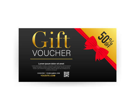 Template gold gift card. Promo code. Vector Gift Voucher with Coupon Code. Vector stock illustration