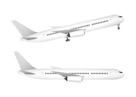 White airplane on a white background in profile, isolated. Vector stock illustration.
