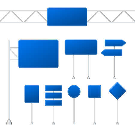 Set of blue road signs isolated on transparent background. Vector stock illustration.