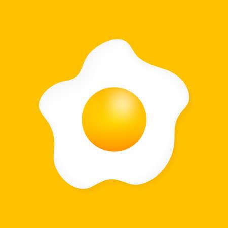 Fried egg isolated on yellow background. Fried egg flat icon