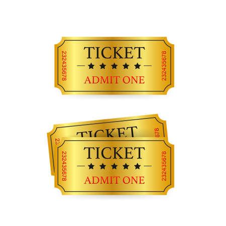 Realistic golden show ticket. Old premium cinema entrance tickets