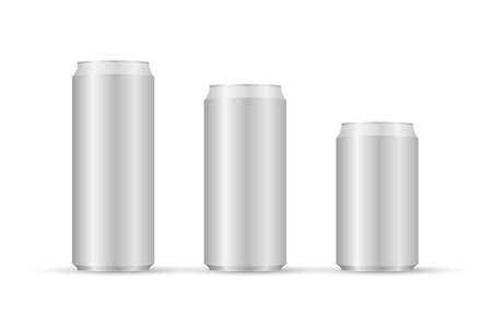 Aliminum drink cans. White can vector visual, ideal for beer, lager, alcohol, soft drinks, soda Stock Illustratie