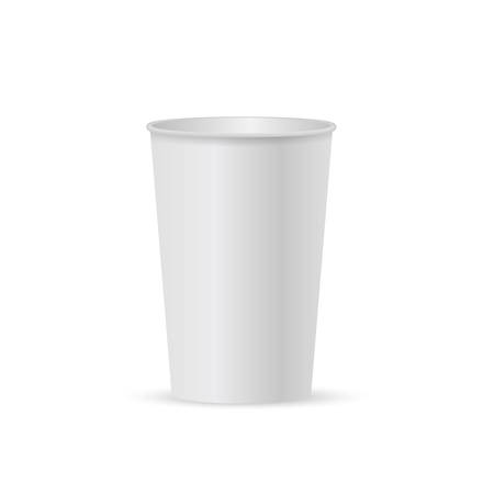 Close up take-out coffee with brown cap and cup holder. Isolated on white background. Vector Illustration.