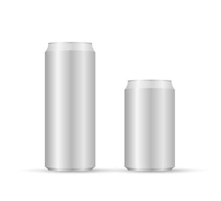 Aliminum drink cans. White can vector visual, ideal for beer, lager, alcohol, soft drinks, soda Illusztráció