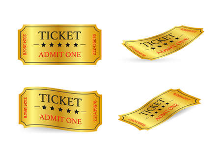 Realistic golden show ticket. Old premium cinema entrance tickets