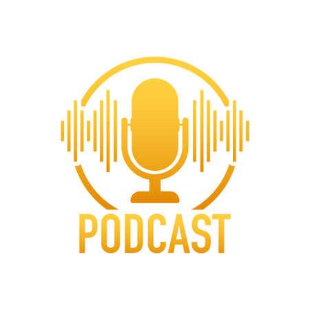 Podcast. Badge, icon, stamp . Vector stock illustration. Illusztráció