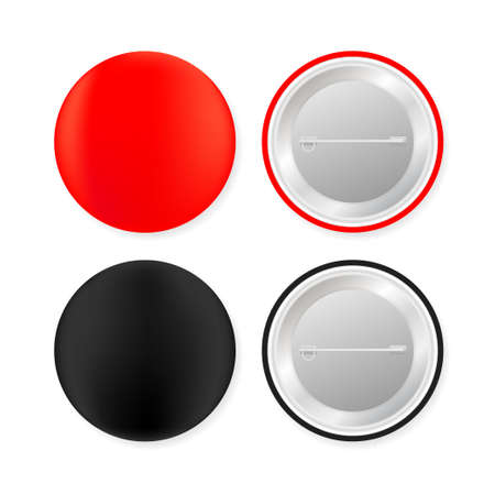 Pin badges. Red and black round blank button. Souvenir magnet badging mockup. Vector stock illustration.