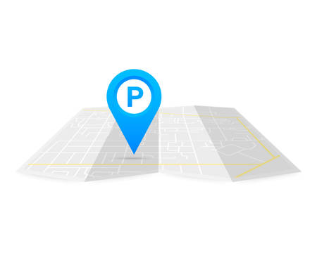 Parking pinpoint blue on map. Parking map point sign. Vector stock illustration.