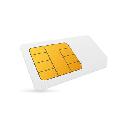 Vector Mobile Cellular Phone Sim Card Chip Isolated on Background 矢量图像