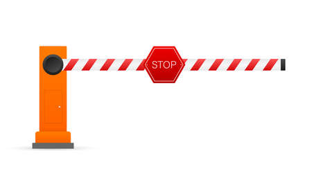 Automatic barrier to adjust the movement of cars. Vector stock illustration. Ilustracja