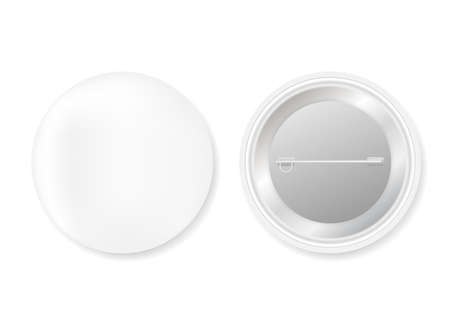 Pin badges. White round blank button. Souvenir magnet badging mockup. Vector stock illustration. 向量圖像