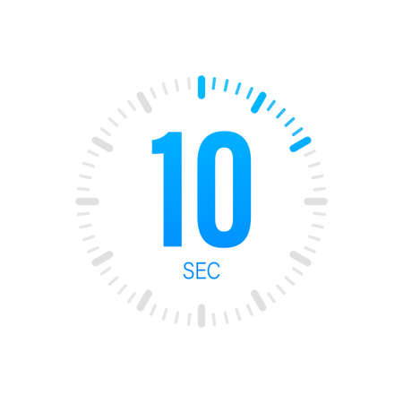 The 10 second, timer, stopwatch vector icon. Stopwatch icon in flat style. Vector stock illustration.
