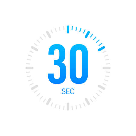 The 30 second, timer, stopwatch vector icon. Stopwatch icon in flat style. Vector stock illustration.