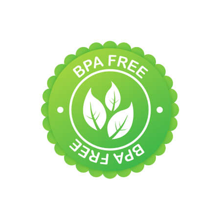 Green colored BPA free emblems, badge, icon. Vector stock illustration.