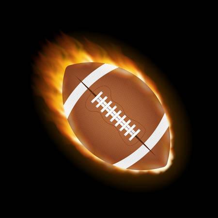 American football ball on a black background. Vector stock illustration Illustration