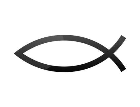 Christian symbol Ichthys, Jesus fish. Vector stock illustration.