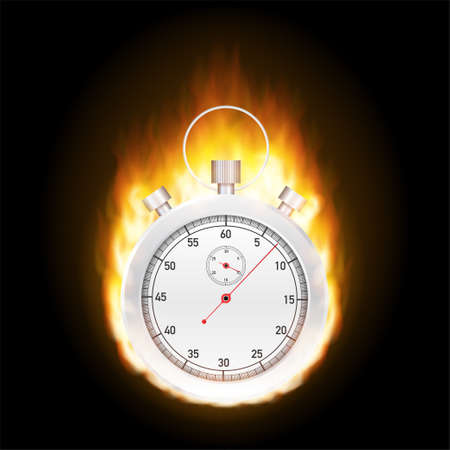 Stopwatch concept - faster sign with fire. Vector stock illustration.