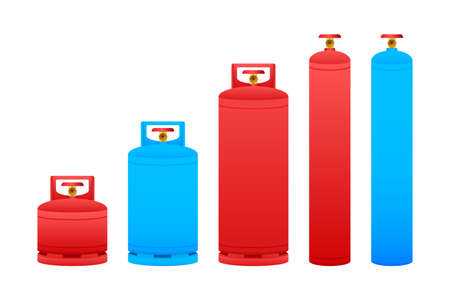 Gas cylinder vector tank. Lpg propane bottle icon container. Oxygen gas. Vector stock illustration Ilustração