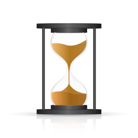 hourglass. Highly detailed. Antique clock with sand inside. Vector illustration