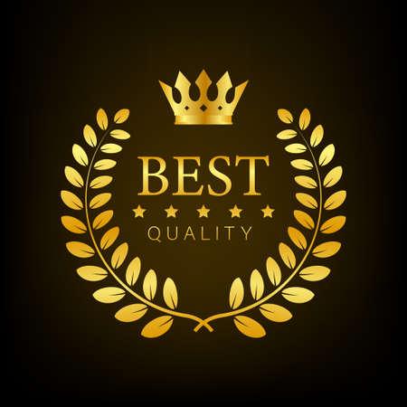 Best quality Gold sign with laurel. Vector stock illustration. Ilustração