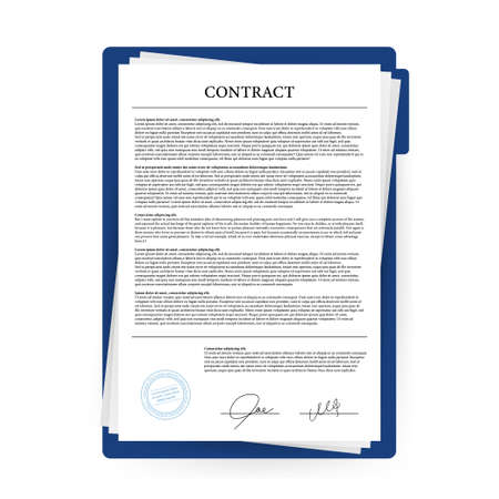 Contract agreement paper blank with seal. Vector illustration. Stock fotó - 134958766