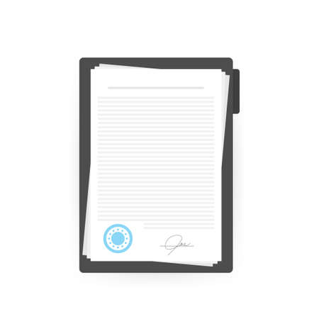 Contract agreement paper blank with seal. Vector illustration