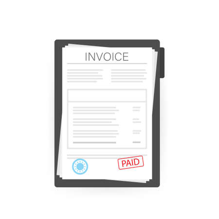 Invoice with paid stamp in clipboard. Vector stock illustration Ilustração