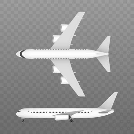 White airplane on a white background in profile, isolated. Vector stock illustration