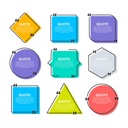 Set Quote frames. Blank template with print information design quotes. Vector stock illustration Ilustrace