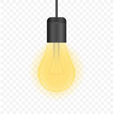 Realistic transparent light bulb. lamp, incandescent bulb. Vector stock illustration