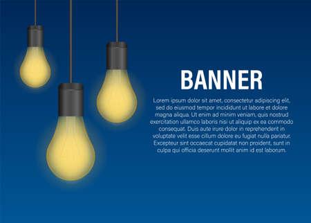 Realistic transparent light bulb banner. Vector stock illustration Illusztráció