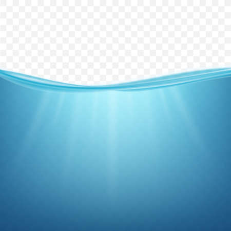 Underwater ocean. Water surface. Natural background. Vector stock illustration