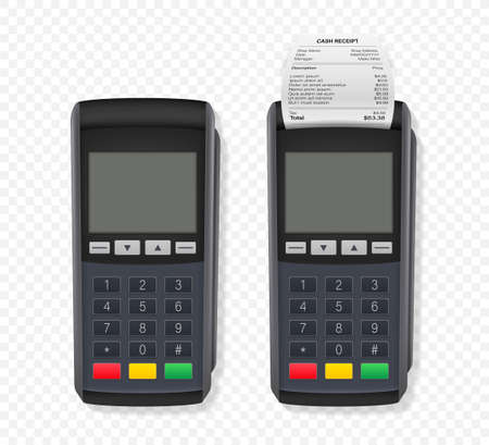 Payment terminal mockup. Pos terminal with blank screen. Cash register. Vector stock illustration.