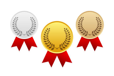 Icono de medalla de premio de oro, plata y bronce. Ilustración de stock vectorial.