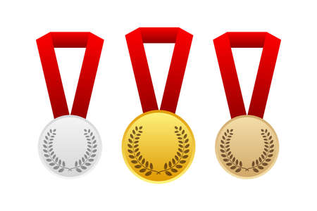 Gold, Silver and Bronze Award Medal Icon. Vector stock illustration