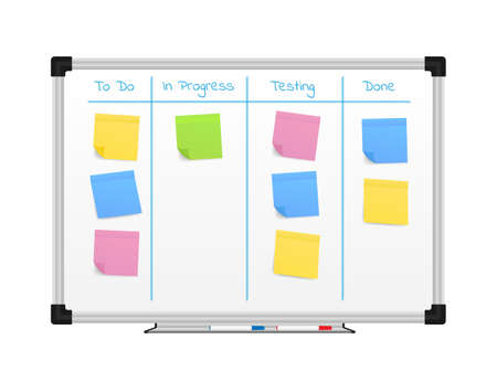 Board with Color Sticky Notes and Markers for Management. Weekly planner