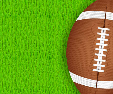 American football ball on green grass. Vector stock illustration.