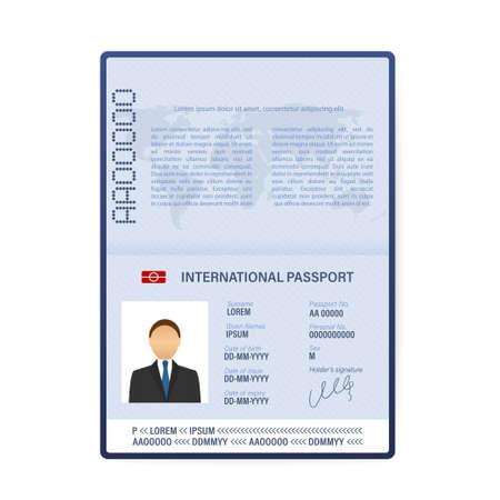 Blank open passport template. International passport with sample personal data page. Vector stock illustration