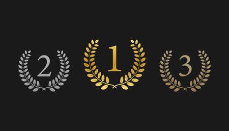 Oro, plata, bronce: primer, segundo y tercer lugar. Premio laurel. Ilustración vectorial de stock Ilustración de vector
