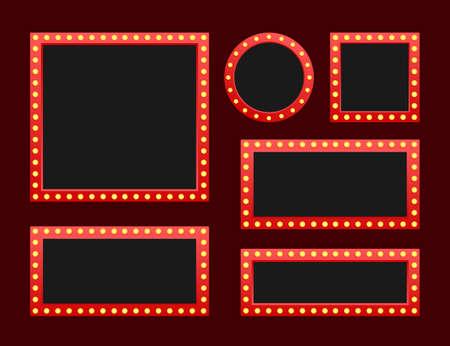 Establecer marco vintage retro de la cartelera de la caja de luz Lightbox con diseño personalizable. Banner clásico para sus proyectos o publicidad. Ilustración de stock vectorial.