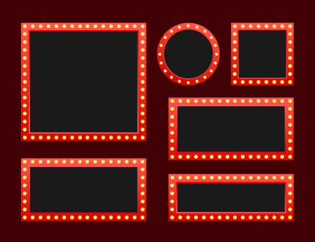 Impostare la cornice vintage del tabellone per le affissioni retro lightbox. Lightbox con design personalizzabile. Banner classico per i tuoi progetti o pubblicità. Illustrazione di riserva di vettore.