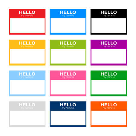 Set Hello my name is label sticker on white background. Vector stock illustration.