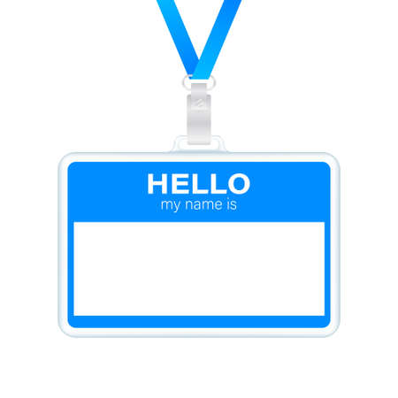 Blue Hello my name is label sticker on white background. Vector stock illustration