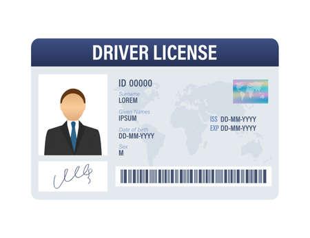 Plantilla de tarjeta de plástico de licencia de conducir de hombre. Tarjeta de identificación. Ilustración de stock vectorial.
