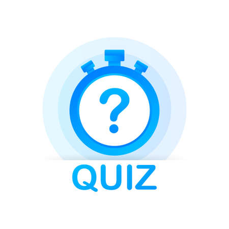 Quiz with clock, concept of questionnaire show sing, quiz button, question competition. Vector stock illustration