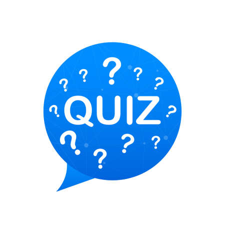 Quiz with speech bubble symbols, concept of questionnaire show sing, quiz button, question competition. Vector stock illustration